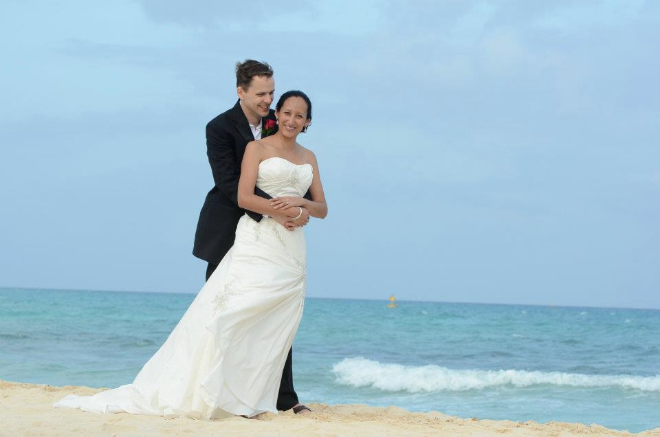 destination wedding bride and groom on beach