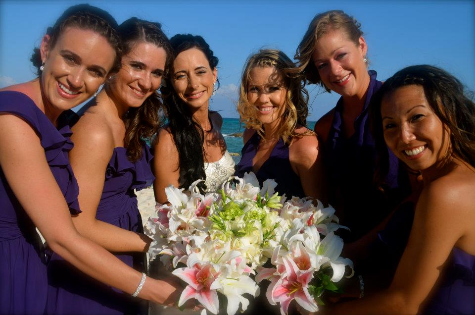 destination wedding bride with bridesmaids